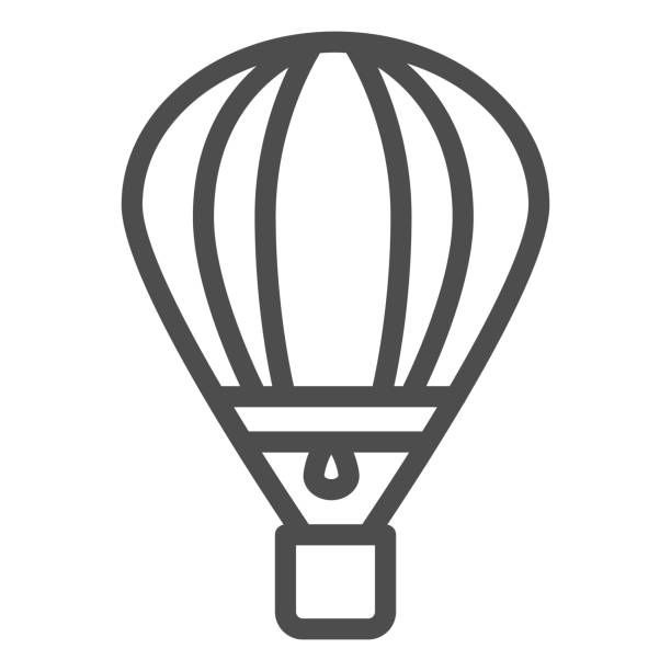 значок линии воздушного шара, символ воздушного транспорта, знак вектора воздушного шара на белом фоне, значок транспорта аэростата в стил� - hot air balloon stock illustrations