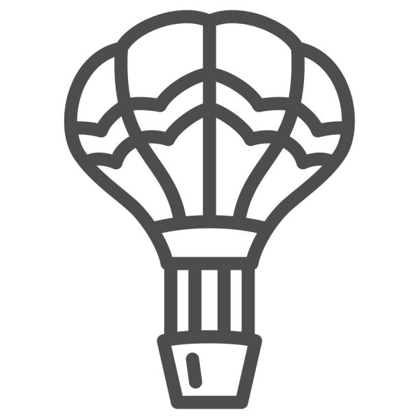 воздушный шар линии значок, воздушные шары фестиваль концепции, воздушный транспорт для путешествия знак на белом фоне, воздушный шар в неб - hot air balloon stock illustrations