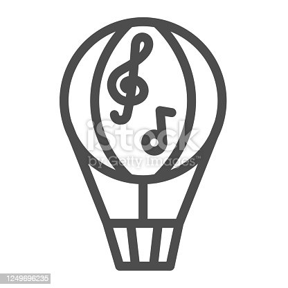 Balloon line icon, Music festival concept, Dirigible with music notes sign on white background, hot air balloon icon in outline style for mobile concept and web design. Vector graphics