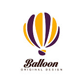Balloon original design, crerative badge with hot air balloon can be used for corporate brand identity, summer holidays, festival, travel, tourism vector Illustration isolated on a white background.