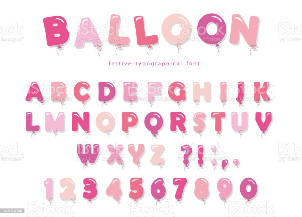 Balloon Pink Font Cute ABC Letters And Numbers For Birthday Baby Shower