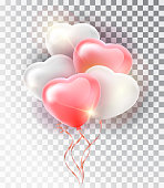 Balloon pink heart set. Symbol of love. Gift. Valentine s day . Vector realistic 3d object. Isolated vector object on a transparent background.