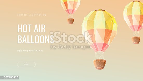 istock Balloon polygonal vector illustration - Monochrome abstract isolated on yellow background - Concept of fly, travel or adventure - Low poly wireframe style 1267193923