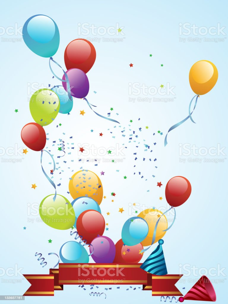 Balloon Release Banner royalty-free stock vector art