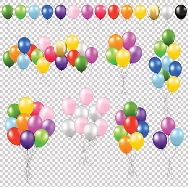 Balloon Set Balloon Set Gradient Mesh, Vector Illustration bunch stock illustrations