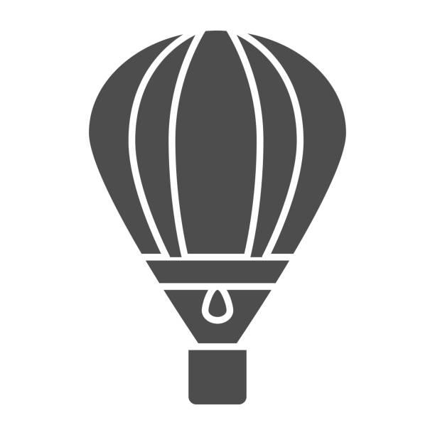 воздушный шар твердый значок, символ воздушного транспорта, воздушный шар вектор знак на белом фоне, аэростат транспорт значок в стиле глиф - hot air balloon stock illustrations