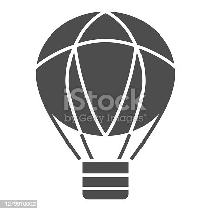 istock Balloon solid icon, Balloons festival concept, Air transport for travel sign on white background, hot air balloon icon in glyph style for mobile concept and web design. Vector graphics. 1279910002