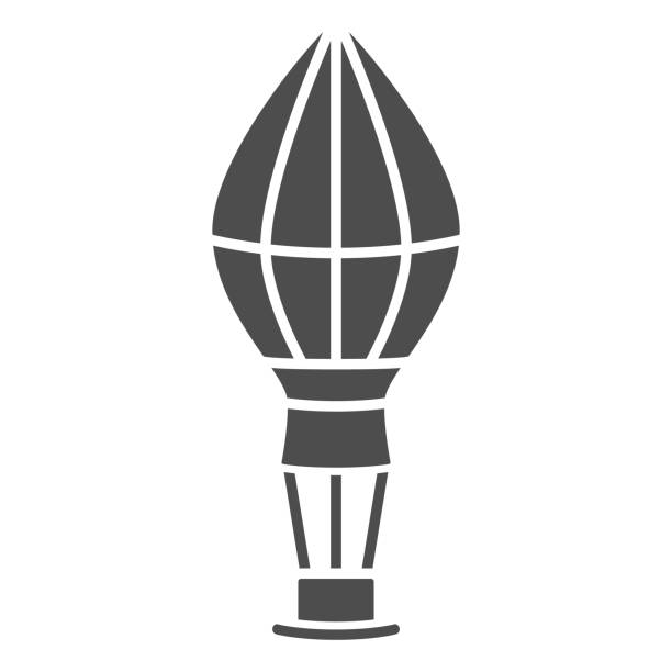 воздушный шар твердых значок, воздушные шары фестиваль концепции, fly транспортный знак на белом фоне, воздушный шар в небо значок в стиле гл� - hot air balloon stock illustrations