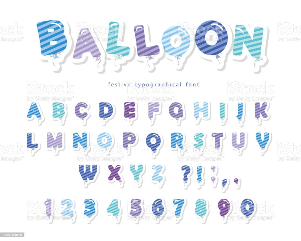 balloon stripped blue font cute abc letters and numbers for birthday