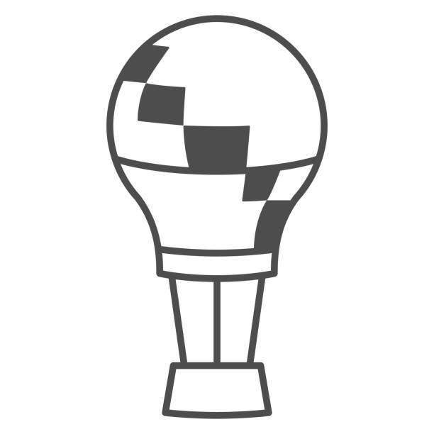 воздушный шар тонкая линия значок, воздушные шары фестиваль концепции, aerostat знак на белом фоне, воздушный шар в небо значок в стиле контура � - hot air balloon stock illustrations