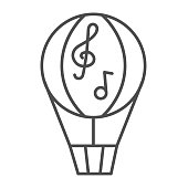 Balloon thin line icon, Music festival concept, Dirigible with music notes sign on white background, hot air balloon icon in outline style for mobile concept and web design. Vector graphics