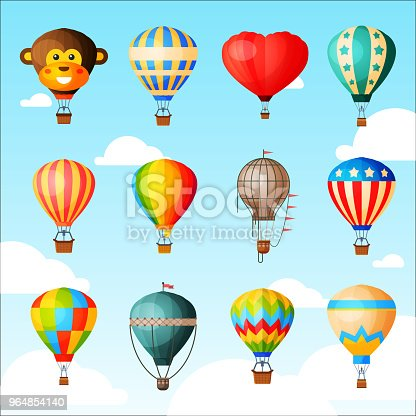 Balloon vector cartoon air-balloon or aerostat with basket flying in sky and ballooning adventure flight illustration set of ballooned traveling isolated on background.