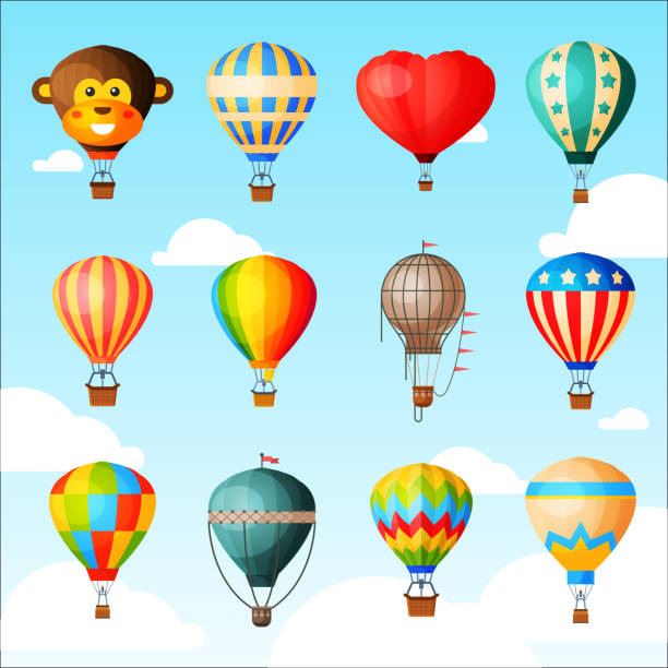 Balloon vector cartoon air-balloon or aerostat with basket flying in sky and ballooning adventure flight illustration set of ballooned traveling isolated on background Balloon vector cartoon air-balloon or aerostat with basket flying in sky and ballooning adventure flight illustration set of ballooned traveling isolated on background. hot air balloon stock illustrations