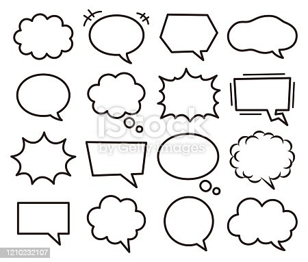 Set of various speech bubbles.