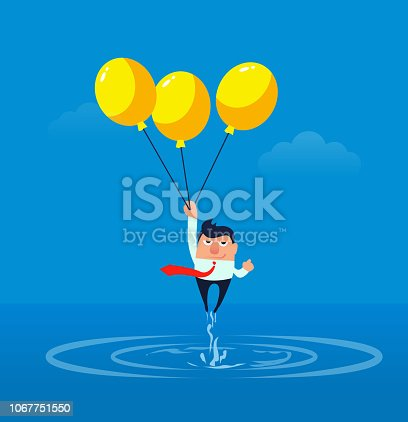 Balloon with businessman fleeing the water