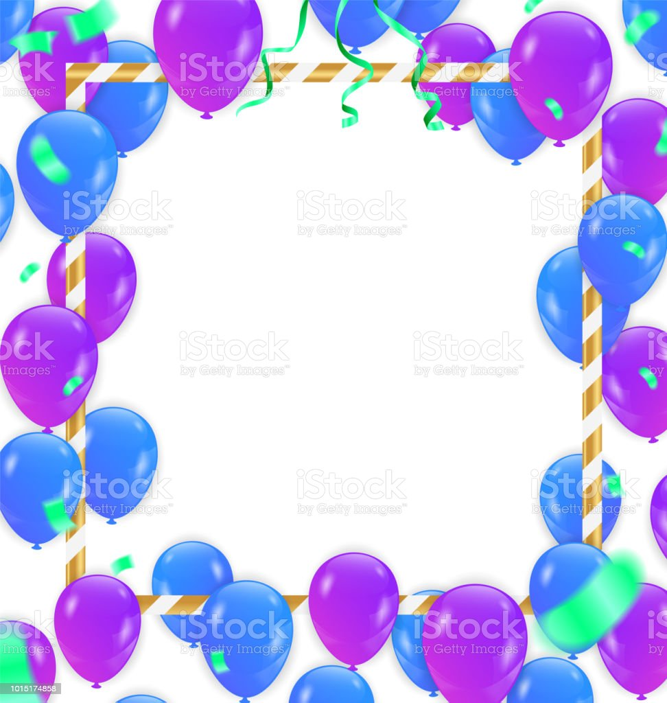 Balloon With White Frame On Background. Celebration Event & Birthday.  flag color concept. Vector vector art illustration