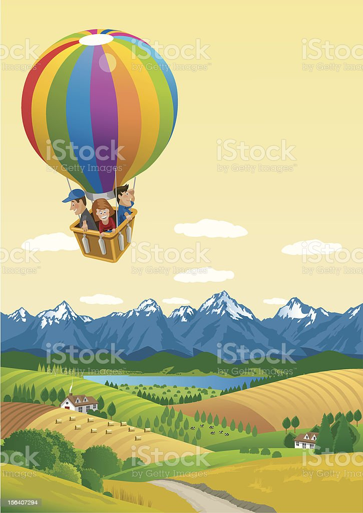 Ballooning over the Countryside royalty-free stock vector art