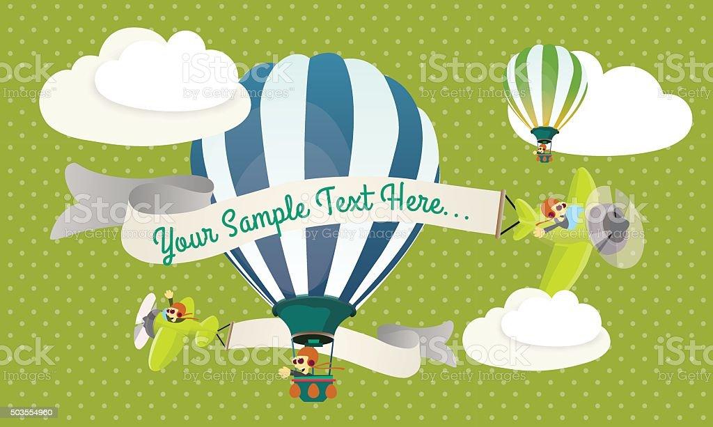 Balloons and airplanes in the clouds vector art illustration