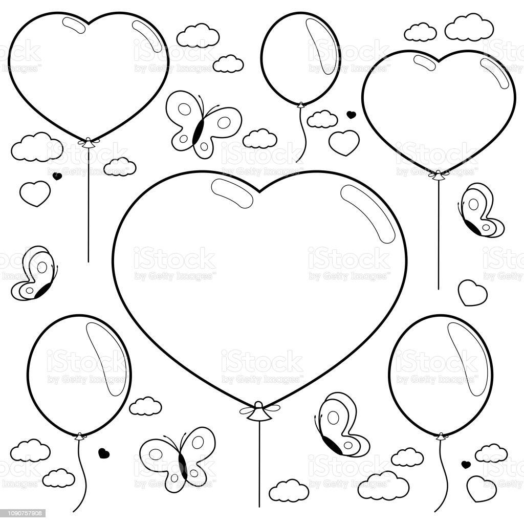 Balonlar Ve Gokyuzunde Ucan Kelebekler Siyah Ve Beyaz Kitap Sayfa