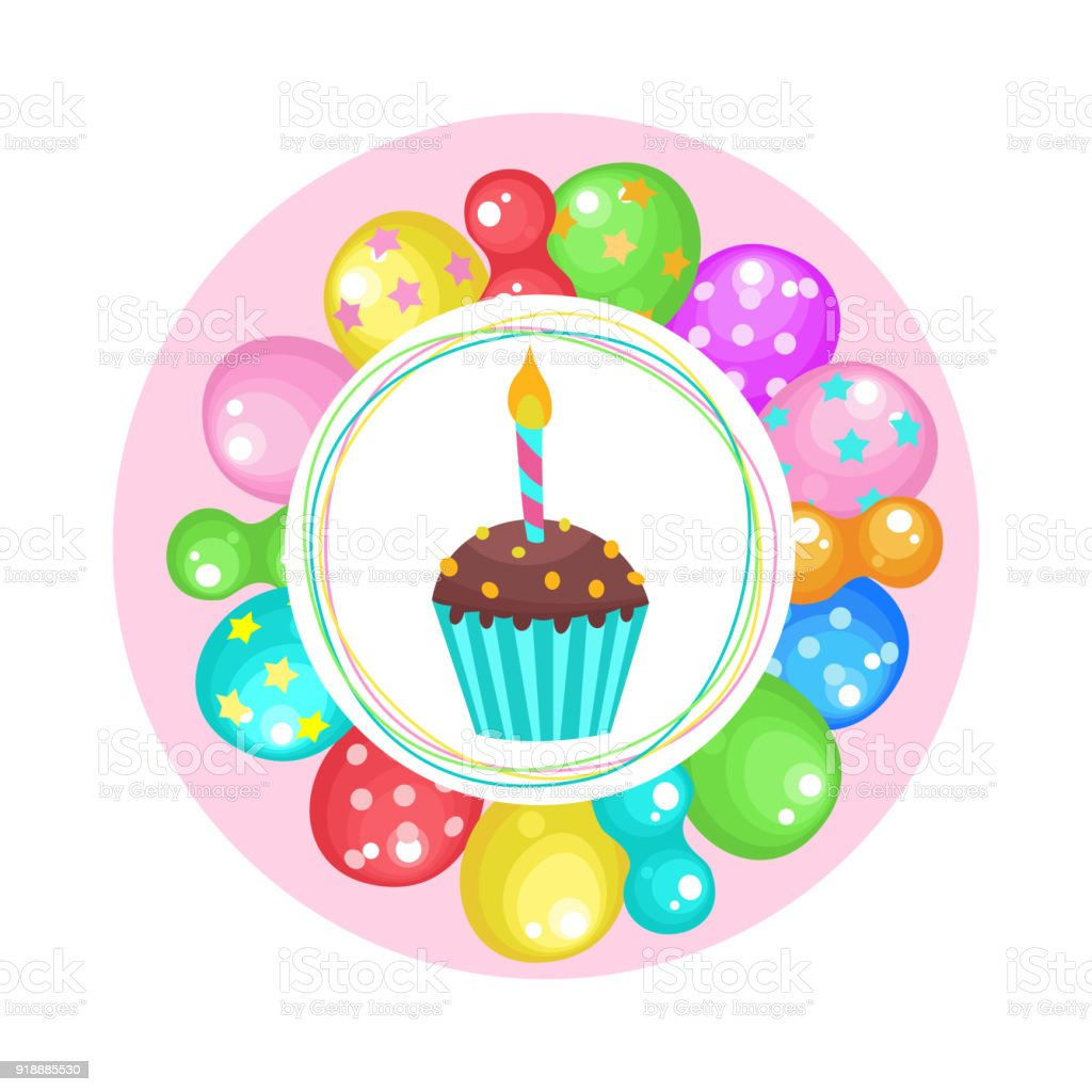 Balloons And Cakes Happy Birthday Vector Clipart Stock Vector Art