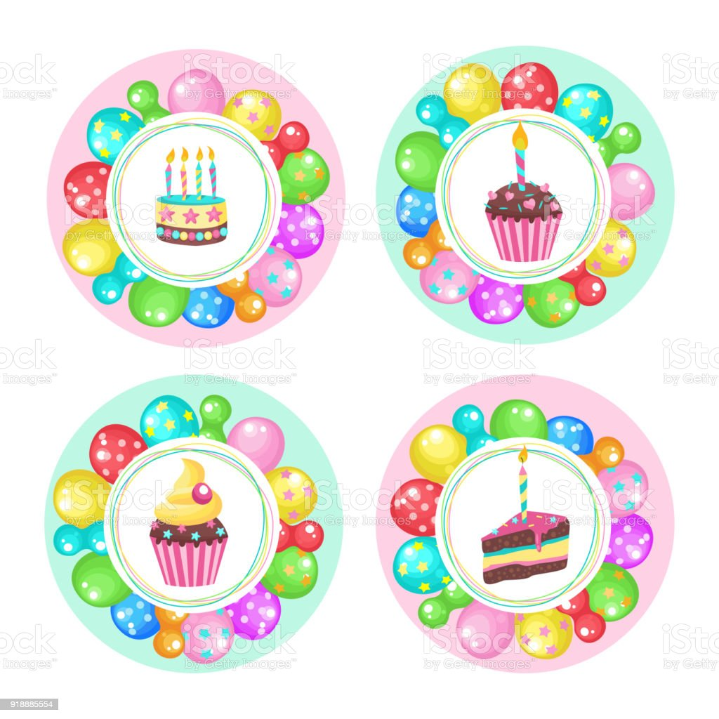 Balloons And Cakes Happy Birthday Vector Clipart Stock Vector Art