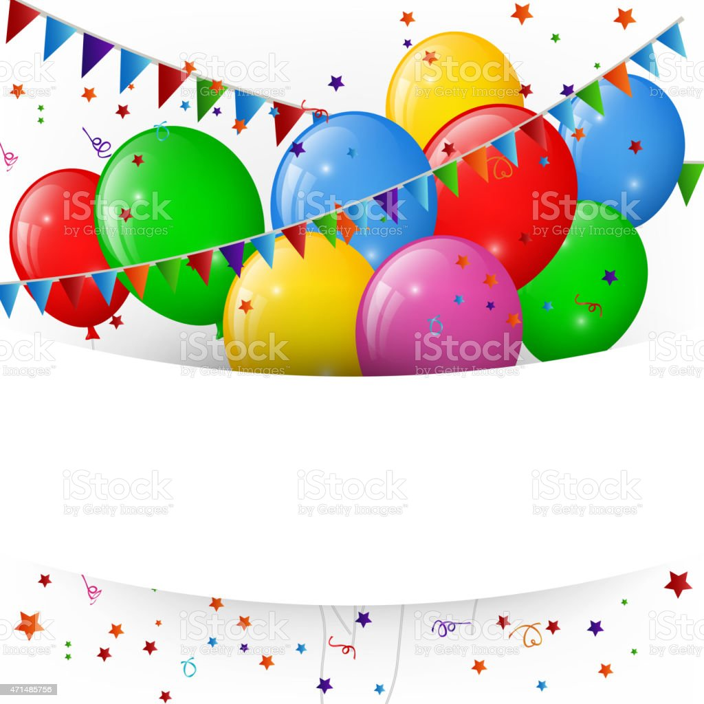 Balloons And Confetti Happy Birthday Banner Stock Vector