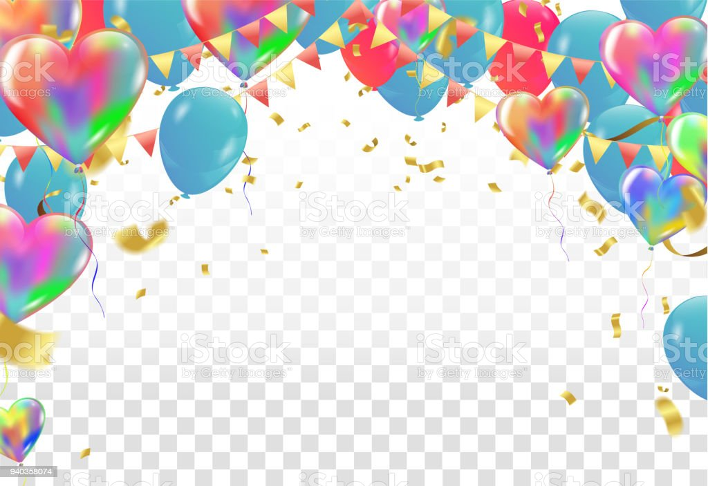 Balloons And Confetti Party Vector Illustration Of A Party