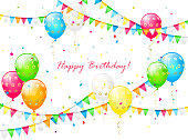 Birthday background with balloons, streamers, colorful confetti and pennants, illustration.