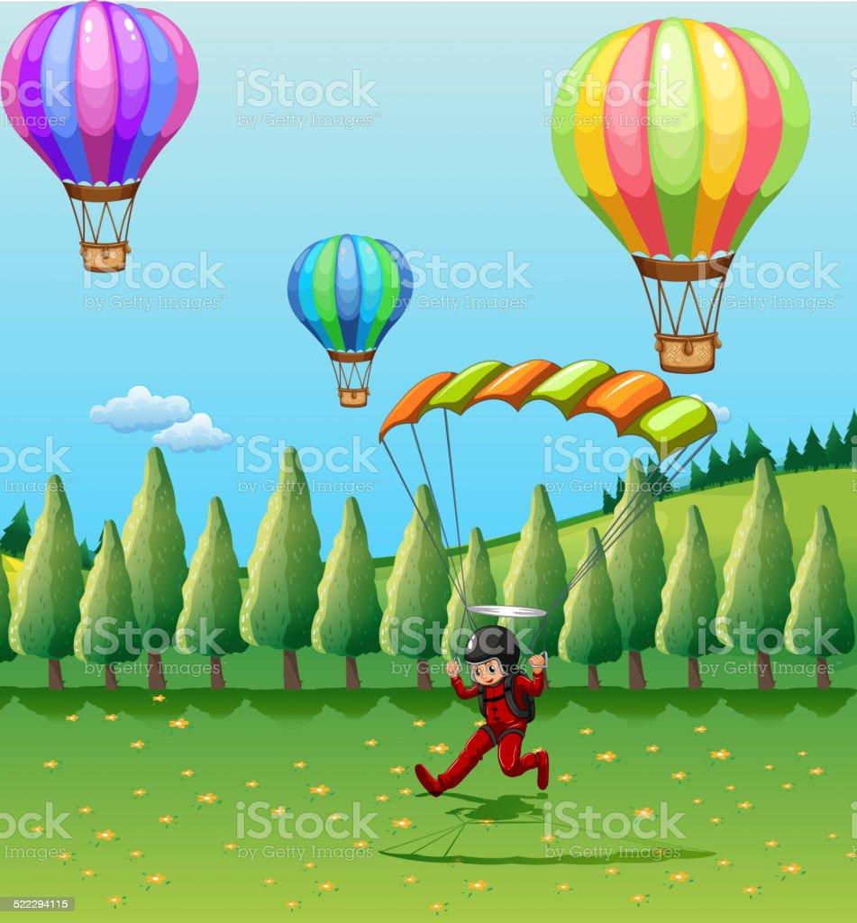 Balloons and parachute vector art illustration