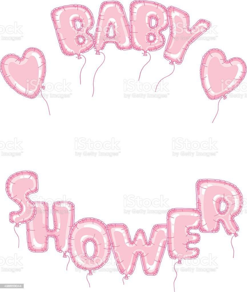 Balloons Baby Dusche Rosa Rahmen Stock Vektor Art und mehr Bilder ...