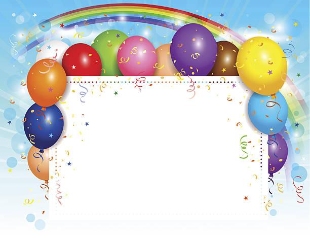 Royalty Free Cartoon Of Birthday Card Borders Clip Art Vector