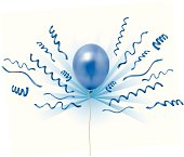 Vector Illustration of a blue balloon and streamers. See my portfolio for other balloon and celebration images