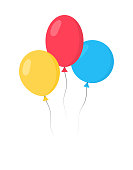 Balloons Bunch Set - Cartoon Flat Style. Isolated on White. Vector