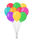 Balloons Bunch Set - Cartoon Flat Style. Isolated on White. Vector