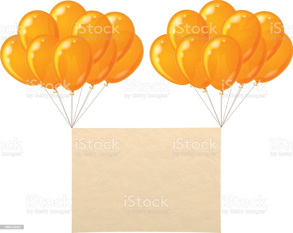 Balloons bunch with paper sheet royalty-free stock vector art