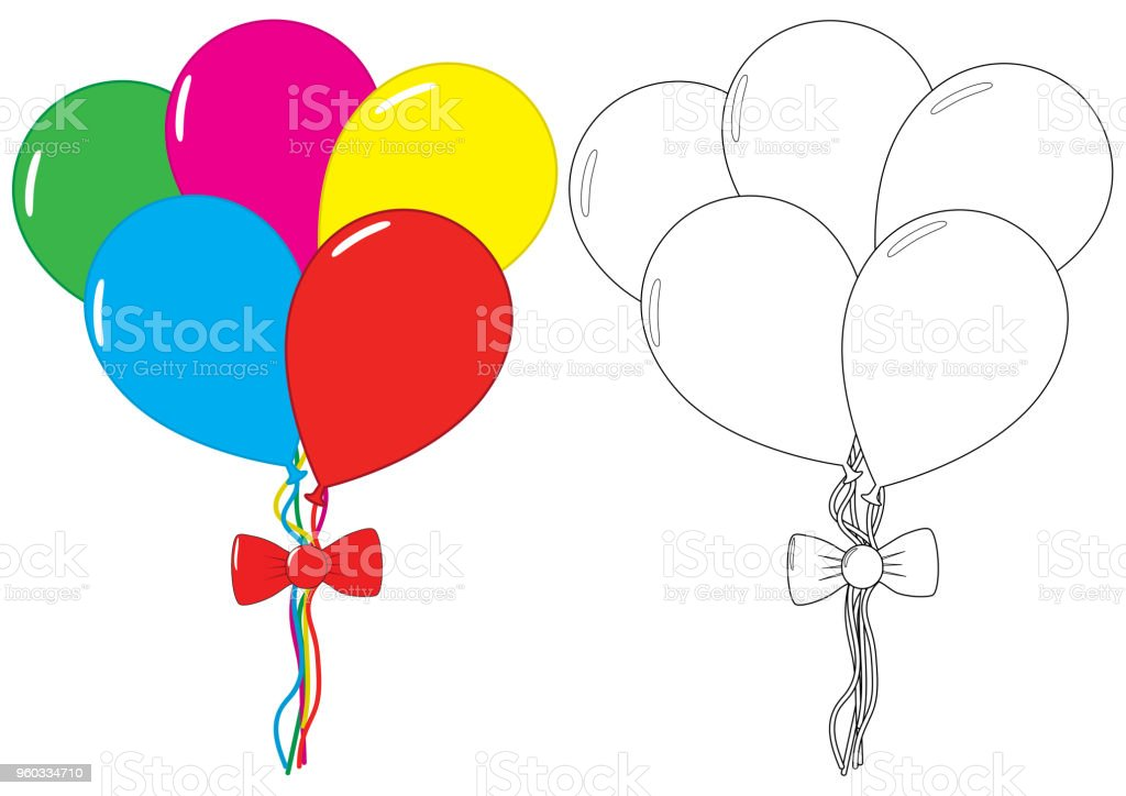 Balloons Coloring Book Leisure Activity For Children Vector ...