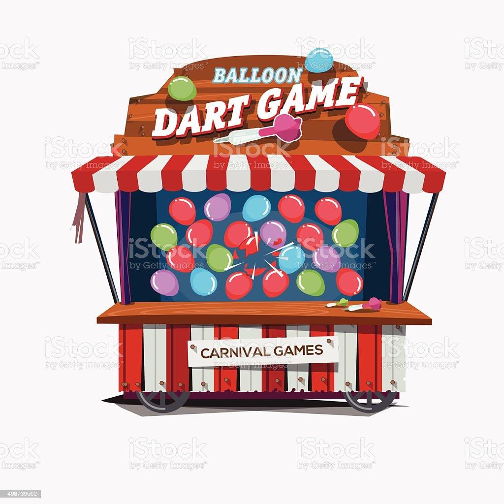balloons dart game. carnival cart concept - vector illustration vector art illustration