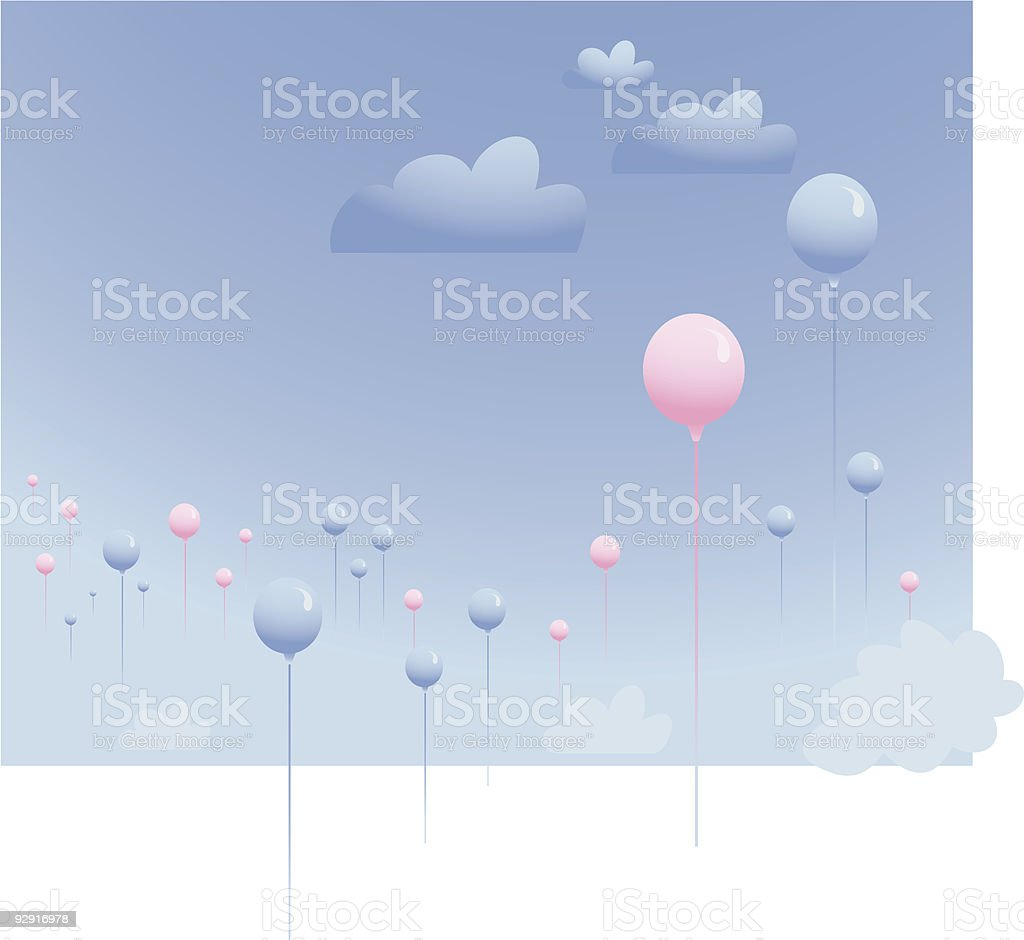 Balloons floating in a blue sky (vector & jpeg) royalty-free stock vector art