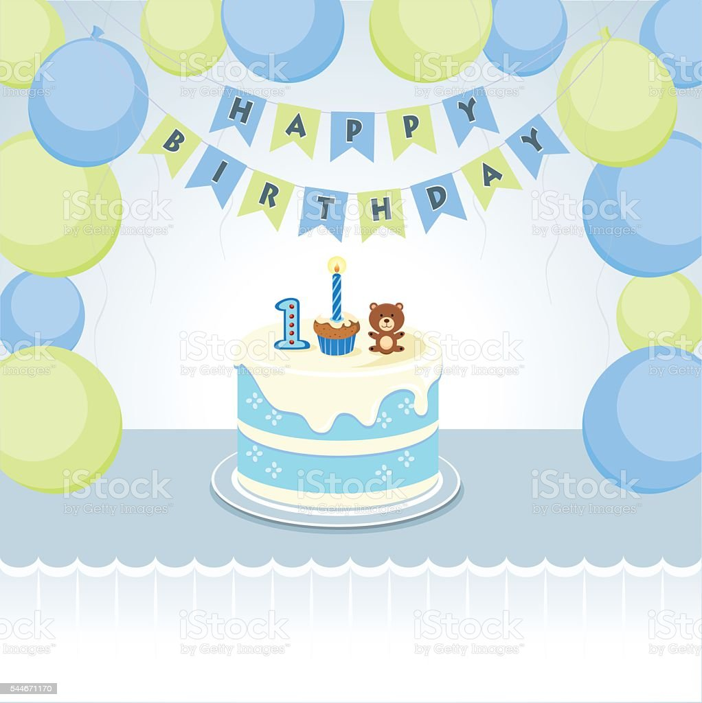 Awesome Balloons For Little Boy First Birthday Stock Illustration Funny Birthday Cards Online Chimdamsfinfo