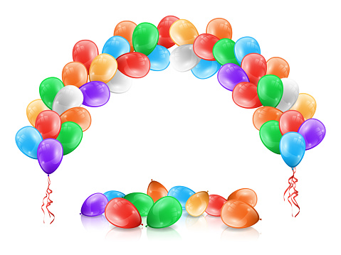 Balloons frame, arch or garland, multicolor balloons on floor isolated on white. Vector color decorative arc, objects to decorate ceremonies, birthday parties or celebrations, Valentines day holiday