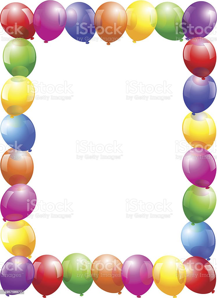 Balloons Frame Portrait Format stock vector art 495758977 | iStock