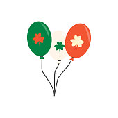 Balloons green, orange, white with clover. Element for St. Patrick s Day. Cartoon illustration for pub invitation, t-shirt design, cards or decor