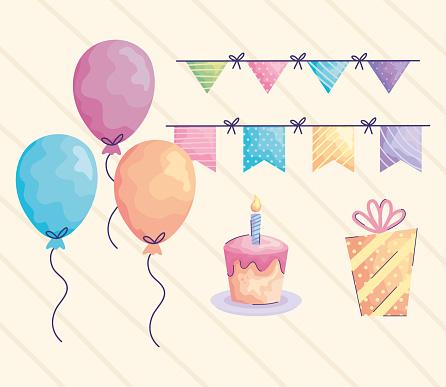 balloons helium and acuarela birthday set icons