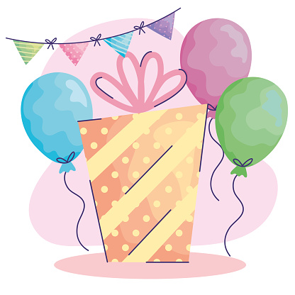balloons helium and gift acuarela birthday icons