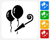 Balloons Icon. This 100% royalty free vector illustration features the main icon pictured in black inside a white square. The alternative color options in blue, green, yellow and red are on the right of the icon and are arranged in a vertical column.
