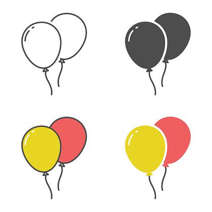Balloons Icon Set Vector Design.