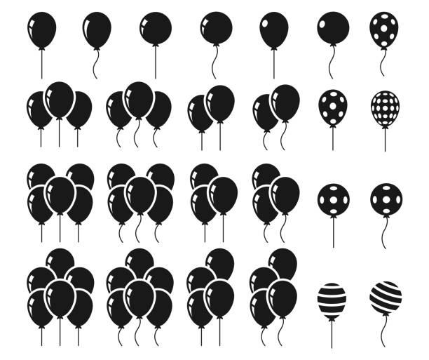 luftballons-icon-set - ballon stock-grafiken, -clipart, -cartoons und -symbole