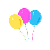 Balloons icon. Flying balloons Yellow, Purple, Blue color. Bunch of balloons in cartoon flat style isolated on white background vector illustration for Holiday Carnival, Festival, Music Dance, Birthday Kids Party, Gifts, Celebration, flying hot balloons, Purim Decoration