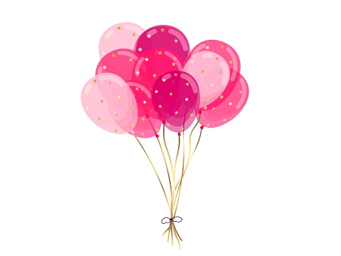 Balloons in a bundle. Festive decoration, birthday greetings, wedding, party, holiday. Set of realistic balloons concept with ribbon. Isolated vector illustration.