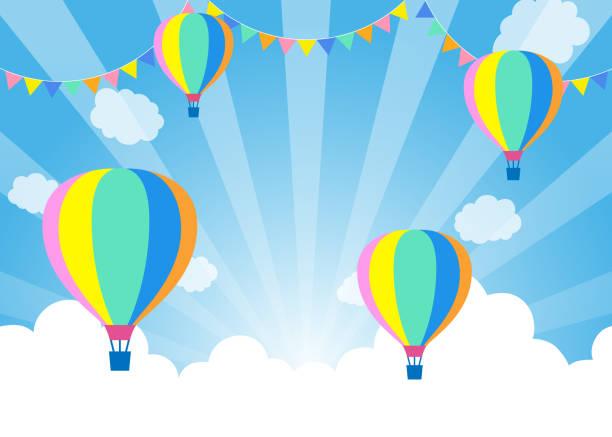 Balloons in blue sky - Festival Balloons in blue sky - Festival national holiday stock illustrations